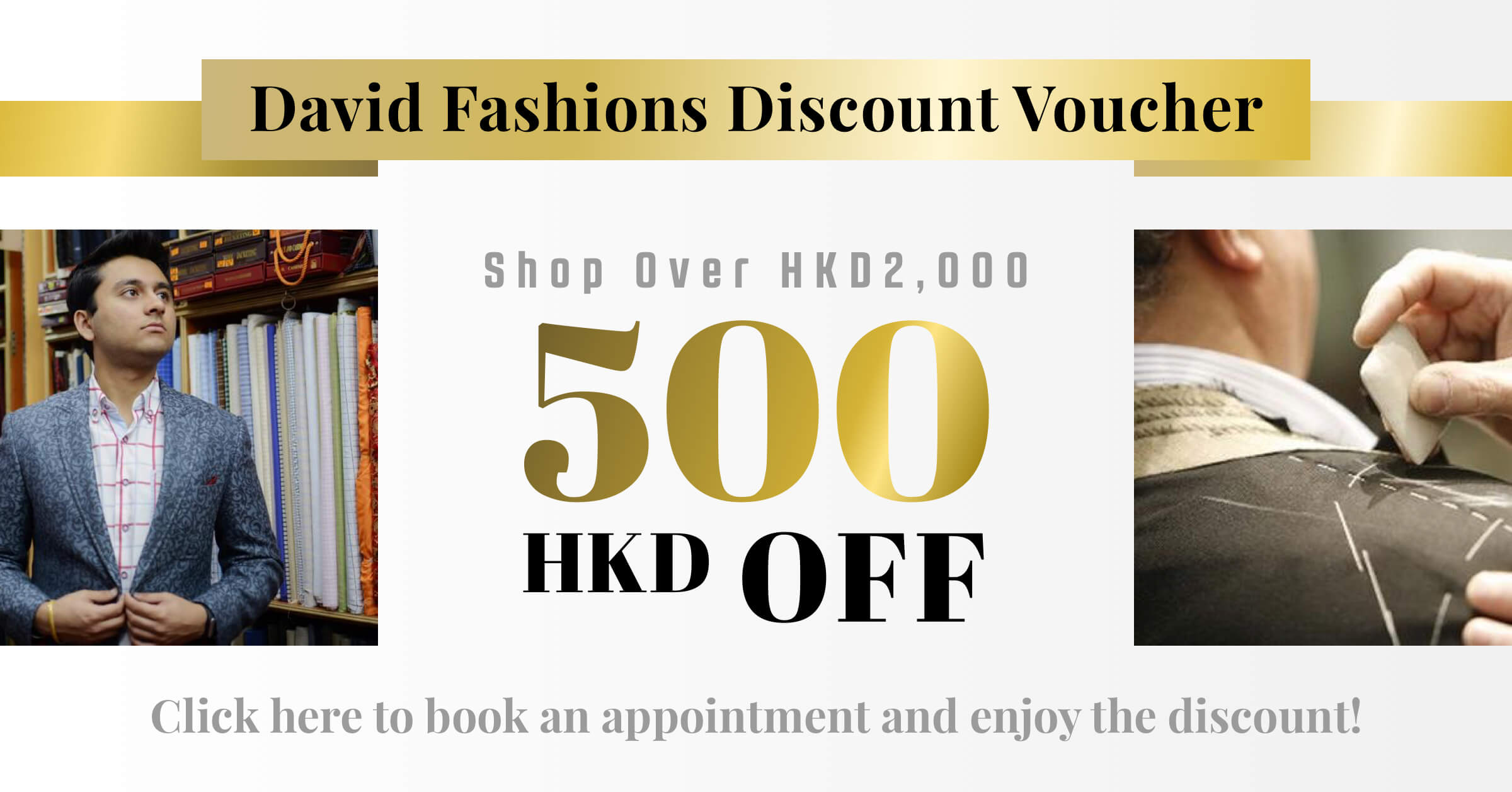 Limited Offer】Exclusive HK$8 Voucher of David Fashions  Tailor-M